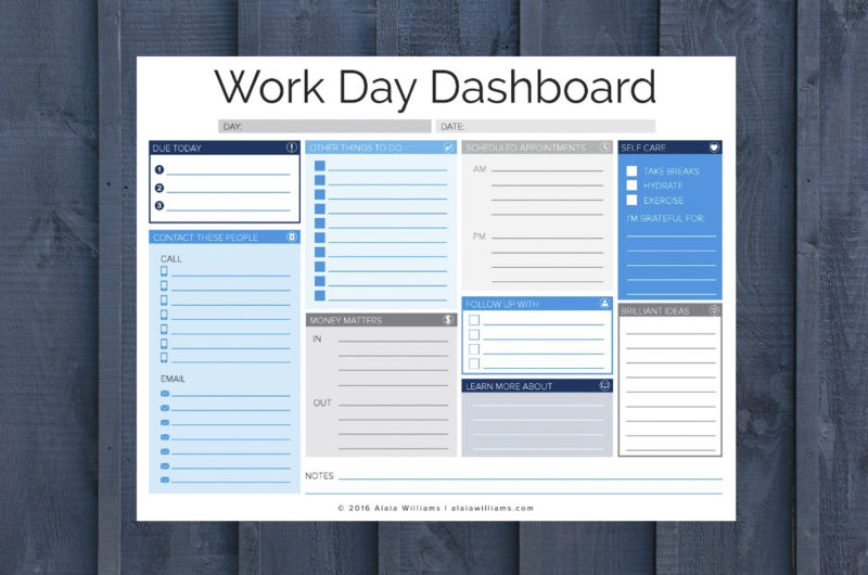 Work Day Dashboard Screenshot